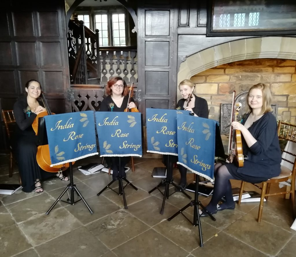 India Rose Strings quartet performing at the Oakwell Hall Wedding Fayre