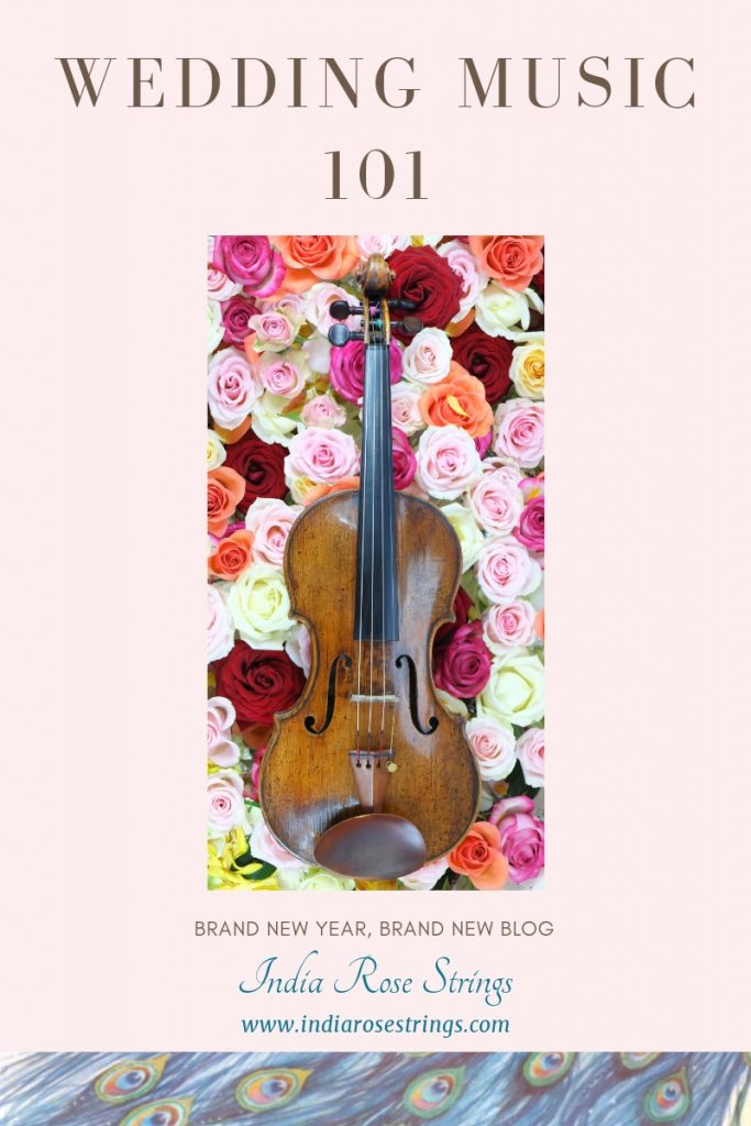 Violin on colourful roses. India Rose Strings introduces their brand new blog. Wedding Music 101